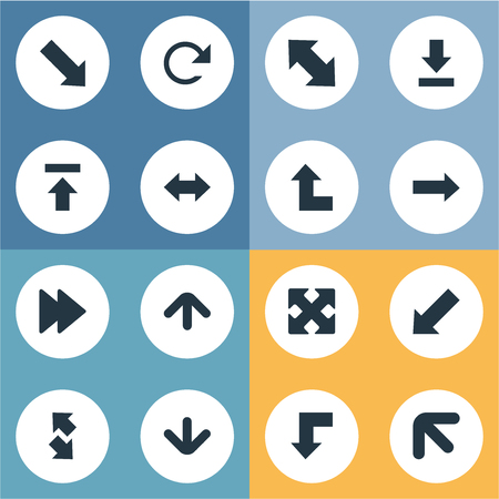 descending: Vector Illustration Set Of Simple Arrows Icons. Elements Left-Up, Downwards Pointing, Circular And Other Synonyms Direction, Down Right Pointing And Upwards. Illustration