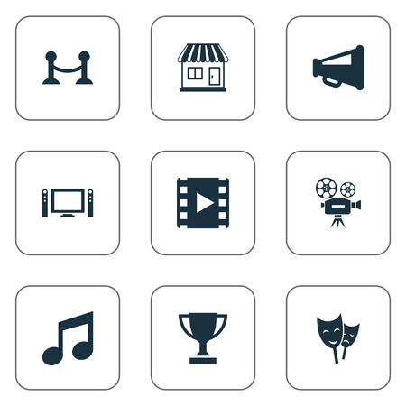 old photograph: Vector Illustration Set Of Simple Movie Icons. Elements Theatre, Megaphone, Home Cinema And Other Synonyms Video, Barrier And Camera.
