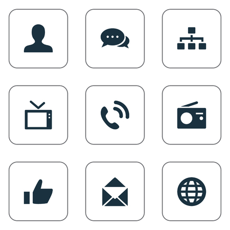 Vector Illustration Set Of Simple Transmission Icons. Elements Telly, Talking, Thumb And Other Synonyms Staff, Call And Telephone.