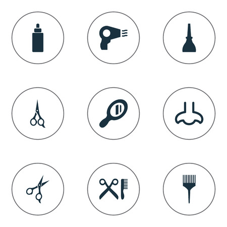 Vector Illustration Set Of Simple Beauty Icons. Elements Serum, Glass, Nail Polish And Other Synonyms Shears, Sence And Hairstylist.