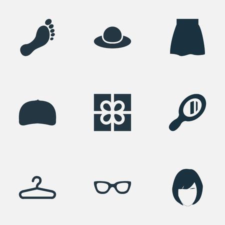 シンプルな服のアイコンのベクトル イラスト セット。要素キャップ、裸足、スカートおよび類義語の他の帽子、アパレル、キャップします。  イラスト・ベクター素材