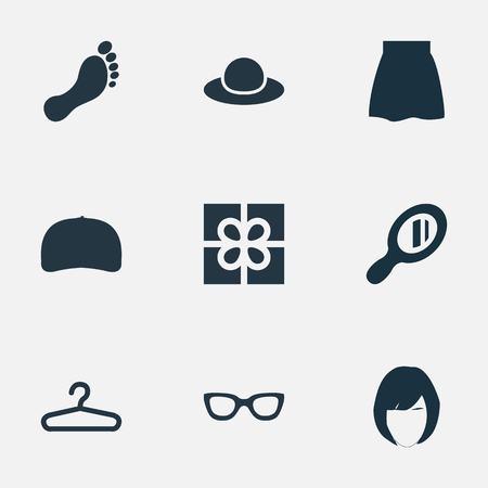 Vector Illustration Set Of Simple Clothes Icons. Elements Cap, Barefoot, Skirt And Other Synonyms Hat, Apparel And Cap.