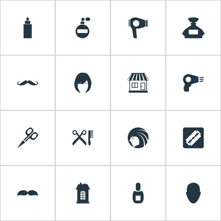 coiffeur: Vector Illustration Set Of Simple Beautician Icons. Elements Human, Supermarket, Scent And Other Synonyms Drying, Whiskers And Supermarket. Illustration