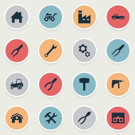 벡터 일러스트 레이 션 간단한 빌드 아이콘의 집합입니다. 요소 니퍼, 커터, 클리핑 도구 및 기타 동의어 클램핑, 제조 및 헛간.