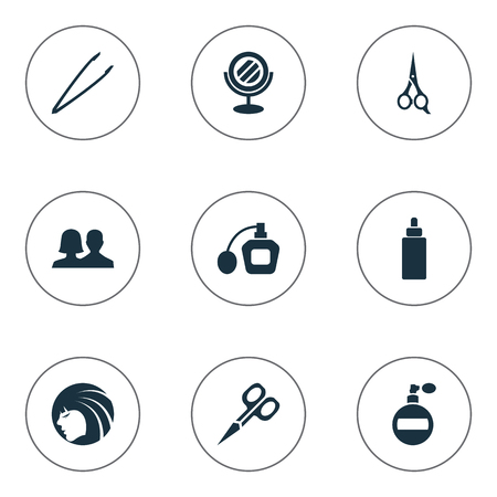Vector Illustration Set Of Simple Spa Icons. Elements Fragrance, Customers, Barber Tool And Other Synonyms Perume, Sprayer And Oil. Illustration
