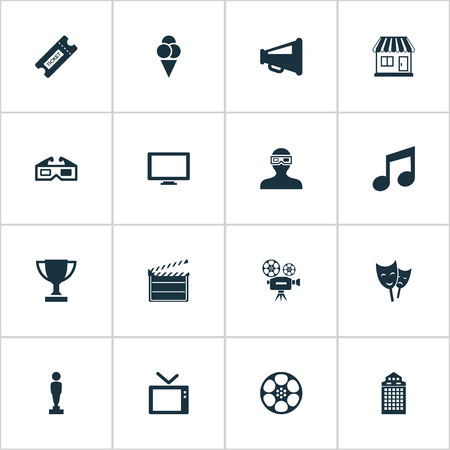 ancient pass: Vector Illustration Set Of Simple Cinema Icons. Elements Megaphone, 3D Glasses, Music Note And Other Synonyms Ticket, Movie And Reward.