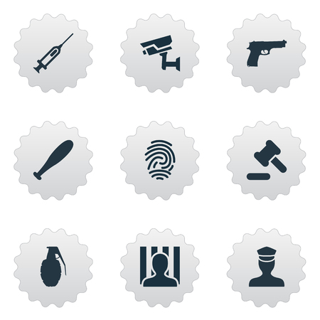 Vector Illustration Set Of Simple Offense Icons. Elements Prison, Identification, Vaccine And Other Synonyms Inoculation, Officer And Fingerprint.