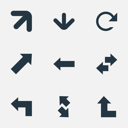 Vector Illustration Set Of Simple Indicator Icons. Elements Left Direction, Raising-Falling, Pointer Up And Other Synonyms Right, Upper And Down. Illustration