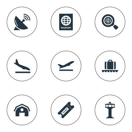벡터 일러스트 레이 션 간단한 여행 아이콘의 집합입니다. 요소 시민권, 글로벌 연구, 이륙 및 다른 동의어 가방, 위성 및 인증서입니다. 일러스트