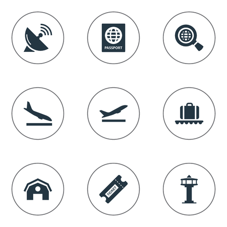 Vector Illustration Set Of Simple Travel Icons. Elements Certificate Of Citizenship, Global Research, Takeoff And Other Synonyms Bag, Satelite And Certificate.
