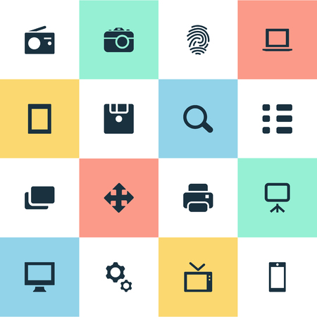 Vector Illustration Set Of Simple Digital Icons. Elements Fingerprint, Photocopier, Projector And Other Synonyms Document, Tv And Projector.