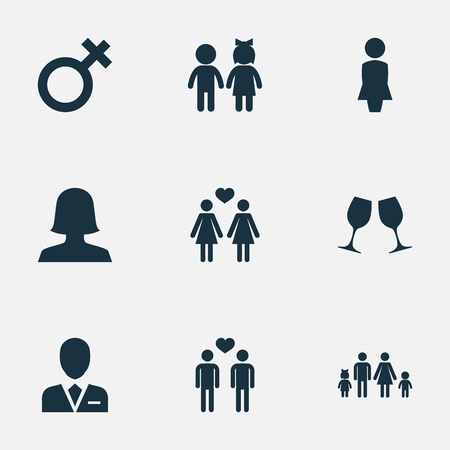 Vector Illustration Set Of Simple Lovers Icons. Elements Madame, Woman, Barrister And Other Synonyms Female, Children And Lesbian.