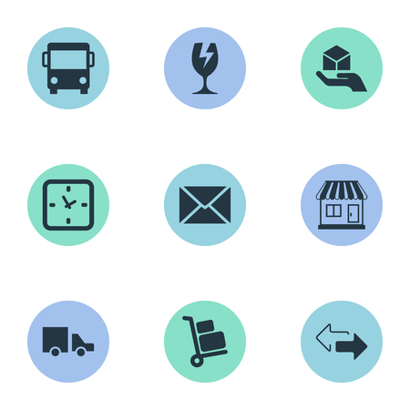 Vector Illustration Set Of Simple Conveyance Icons. Elements Van, Packaging, Opposite Directions And Other Synonyms Baggage.