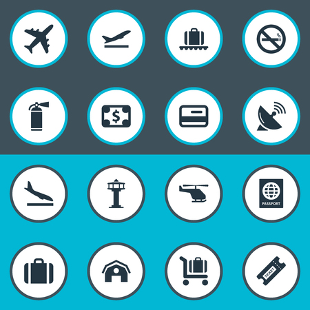 Vector Illustration Set Of Simple Plane Icons. Elements Baggage Cart, Antenna, Takeoff And Other Synonyms Copter.