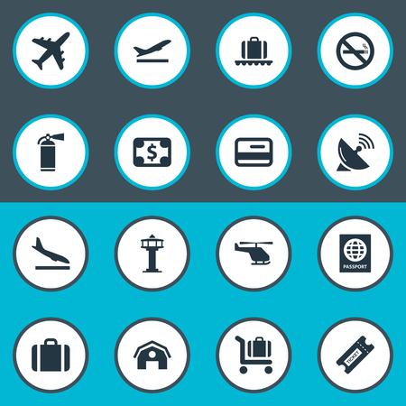 벡터 일러스트 레이 션 간단한 비행기 아이콘의 집합입니다. 요소 수하물 카트, 안테나, 이륙 및 기타 동의어 헬리콥터.