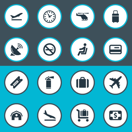 Vector Illustration Set Of Simple Plane Icons. Elements Antenna, Garage, Protection Tool And Other Synonyms Trolley, Sitting And Satelite.