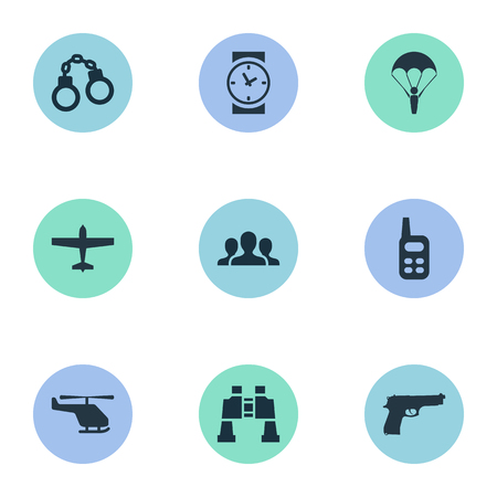 Vector Illustration Set Of Simple War Icons. Elements Helicopter, Pistol, Air Bomber And Other Synonyms Plane, Walkies And Paratrooper. Illustration