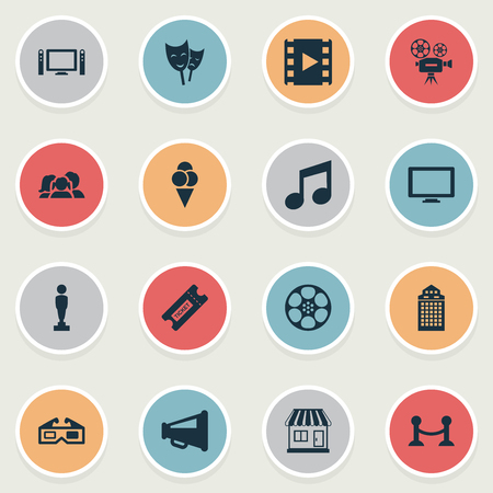 Vector Illustration Set Of Simple Movie Icons. Elements Music Note, Structure, Sorbet And Other Synonyms Reward, Fence And Filmstrip.