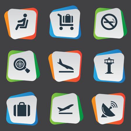 Vector Illustration Set d'icônes de voyage simple. Antenne d'éléments, sac à main, tour de contrôle de vol Synonymes Antenna, Wold And Plane. Banque d'images - 75266138