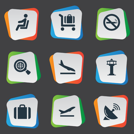 Vector Illustration Set Of Simple Travel Icons. Elements Antenna , Handbag, Flight Control Tower Synonyms Antenna, Wold And Plane.