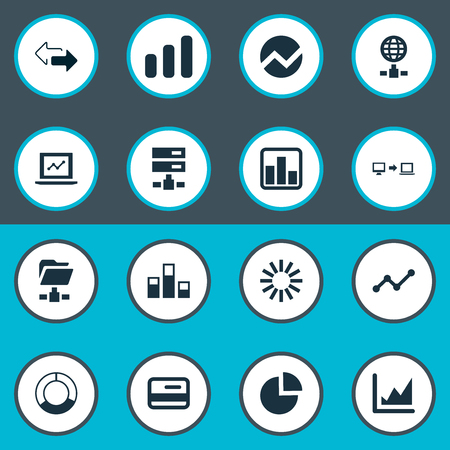 Vector Illustration Set Of Simple Information Icons. Elements Cycle Chart, Increase Graph, Progress And Other Synonyms Cycle, Presentation And Progress. Ilustração