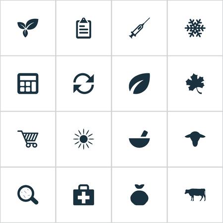 insolación: Ilustración vectorial Conjunto de iconos simples cosecha. Elementos de jeringa, medicamento, hojas y otras hojas de sinónimos, remedio y medicamentos.