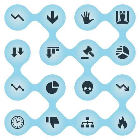 Vector Illustration Set Of Simple Trouble Icons. Elements Round Graph, Finger Below, Down Cursor And Other Synonyms Arm, Down And Head. Illustration