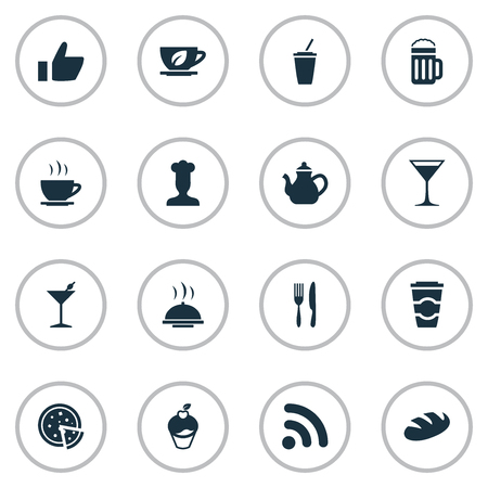 Vector Illustration Set Of Simple Beverage Icons. Elements Tea, Fork With Knife, Martini And Other Synonyms Serving, Beer And Wineglass.