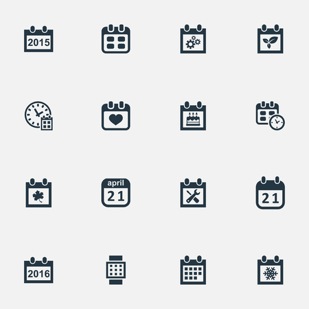 Vector Illustration Set Of Simple Date Icons. Elements Deadline, 2016 Calendar, Intelligent Hour And Other Synonyms Time, Spring And Reminder. Illustration