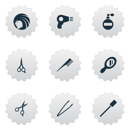 Vector Illustration Set Of Simple Beauty Icons. Elements Scissors, Fragrance, Beauty And Other Synonyms Equipment, Perfume And Dry.