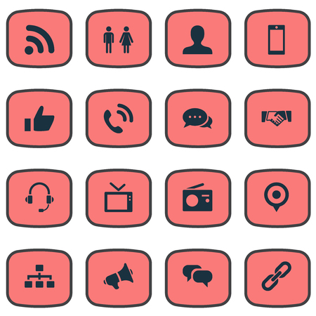 Vector Illustration Set Of Simple Transmission Icons. Elements Member, Smartphone, Wave And Other Synonyms Contact, Staff And Dialog.