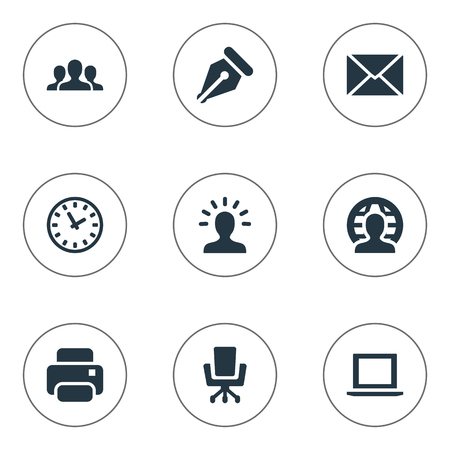 Vector Illustration Set Of Simple Commerce Icons. Elements Group, User, Member And Other Synonyms Office, Machine And Account. Illustration