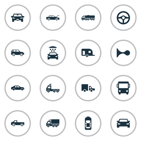 Vector Illustration Set Of Simple Auto Icons. Elements Caravan, Auto, Camion And Other Synonyms Transportation, Race And Automobile.