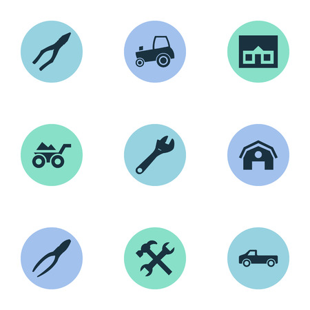 Vector Illustration Set Of Simple Wrench Icons. Elements Agriculture Transport, Hangar, Loaded Trolley And Other Synonyms Hangar, Tractor And Pliers.