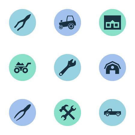 Vektor-Illustrations-Satz einfache Schlüssel-Ikonen. Elemente Landwirtschaft Transport, Hangar, beladene Trolley und andere Synonyme Hangar, Traktor und Zangen. Standard-Bild - 75276005