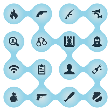 Vector Illustration Set Of Simple Fault Icons. Elements Pistol, Controlling System, Prison And Other Synonyms Automatic, Stick And Punishment.