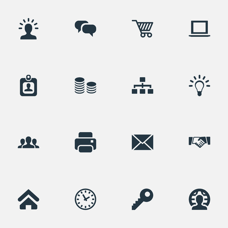 Vector Illustration Set Of Simple Commerce Icons. Elements Bulb, Printing Machine, Relationship And Other Synonyms User, Net And Conversation. Illustration