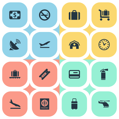 Vector Illustration Set Of Simple Airport Icons. Elements Antenna, Luggage Carousel, Baggage Cart And Other Synonyms Time, Luggage And Warning. Illustration