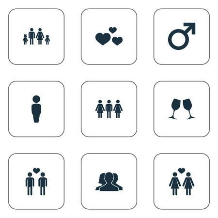 Vector Illustration Set Of Simple Lovers Icons. Elements Lineage, Homosexual, Heart And Other Synonyms People, Mister And Gay. 向量圖像