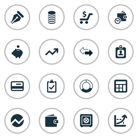 Vector Illustration Set Of Simple Investment Icons. Elements Piggy Bank, Earnings, Credit Card And Other Synonyms Statistic, Authentication And Progress. Illustration