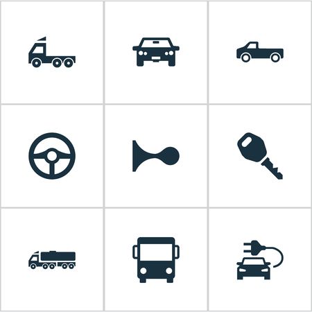 Vector Illustration Set Of Simple Auto Icons. Elements Car Charging, Steering Wheel, Tour Bus And Other Synonyms Cargo, Beep And Auto.