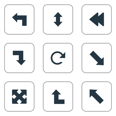 Vector Illustration Set Of Simple Cursor Icons. Elements Downward, Crossed Arrows, Circular And Other Synonyms Arrow, Four Directions Arrows And Rearward. 向量圖像