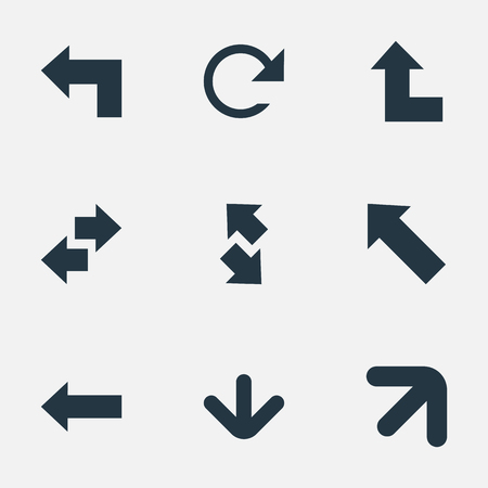 Vector Illustration Set Of Simple Pointer Icons. Elements Circular, Left Direction, Pointer And Other Synonyms Left, Refresh And Direction.