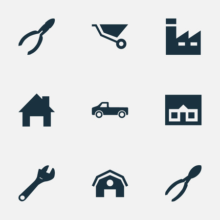Vector Illustration Set Of Simple Axe Icons. Elements Home, Nippers, Manufacture And Other Synonyms Instrument, Property And Truck.
