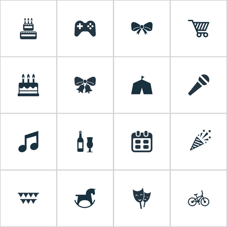 Vector Illustration Set Of Simple Celebration Icons. Elements Bicycle, Mask, Beverage And Other Synonyms Date, Pony And Alcohol.