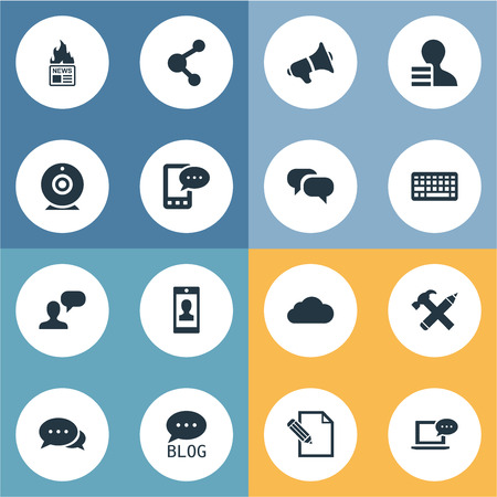 Vector Illustration Set Of Simple User Icons. Elements Repair, Gossip, E-Letter And Other Synonyms Camera, Laptop And Site.