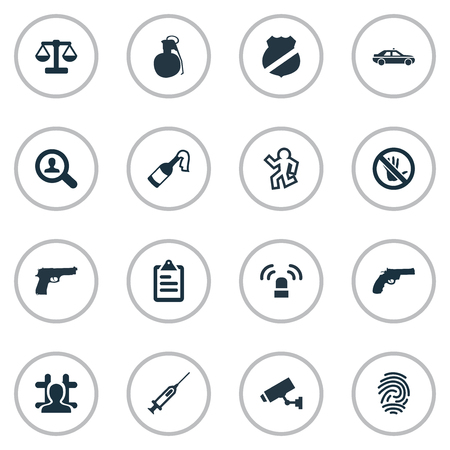 Vector Illustration Set Of Simple Crime Icons. Elements Justice, Investigation, Explosive And Other Synonyms Sign, Victim And Syringe.