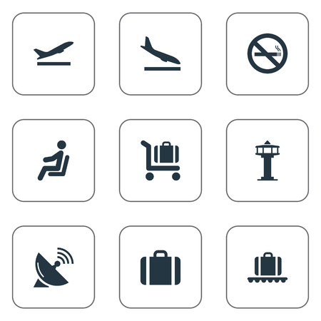 Vector Illustration Set Of Simple Transportation Icons. Elements Luggage Carousel, Baggage Cart, Seat And Other Synonyms Fly, Cart And Stop.
