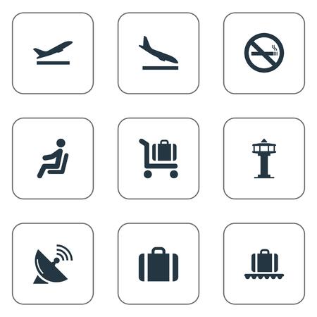 벡터 일러스트 레이 션 간단한 교통 아이콘의 집합입니다. 요소 수하물 회전 목마, 수화물 장바구니, 좌석 및 기타 동의어 비행, 장바구니 및 중지.
