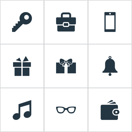 Vector Illustration Set Of Simple Accessories Icons. Elements Gift, Eyeglasses, Password And Other Synonyms Gift, Bell And Telephone.